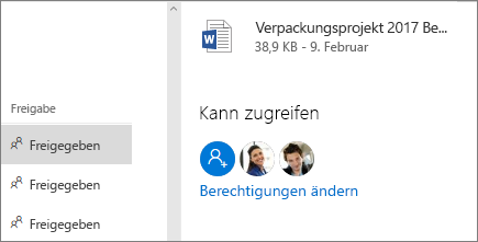 Zeigt, wer Zugriff auf freigegebene Dateien hat.