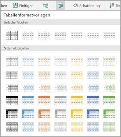 Android-Tabellenvorlagen