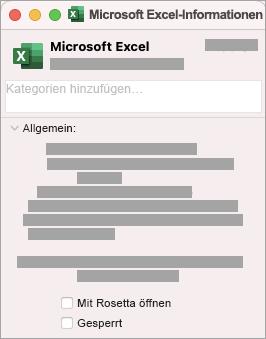 """Aktivieren Sie das Kontrollkästchen für """"Mit Rosetta öffnen""""."""
