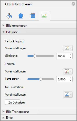 """Anpassen der Farb Sättigungs Einstellungen im Bereich """"Grafik formatieren"""""""