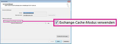 outlook exchange cache modus freigegebene ordner
