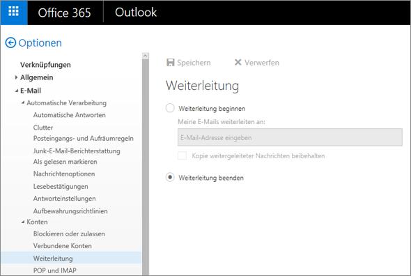 """Der Screenshot zeigt die Seite mit den Weiterleitungsoptionen, wobei die Option """"Weiterleitung beenden"""" ausgewählt ist."""