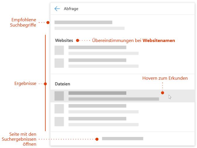 Screenshot des modernen Such Felds mit Zeigern auf zu erforschende Elemente