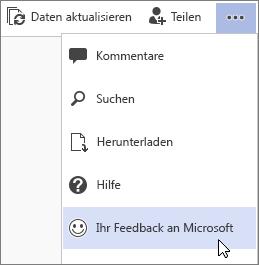 Ihr Feedback an Microsoft-Befehl