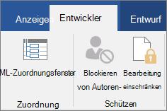 Klicken Sie auf der Registerkarte Entwicklertools in der Gruppe schützen auf Bearbeitung einschränken