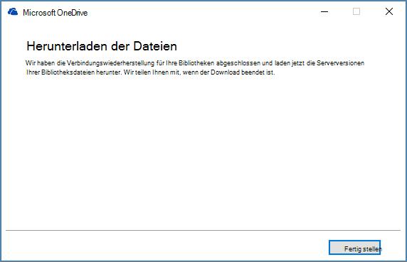 """Abschließendes OneDrive for Business-Dialogfeld """"Synchronisierung reparieren"""""""
