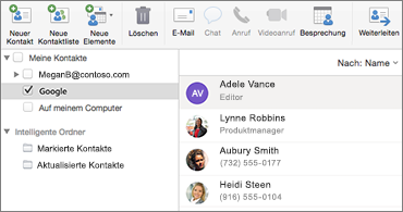 Kontaktliste mit Google-Kontakten