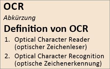 OCR (Übersicht)