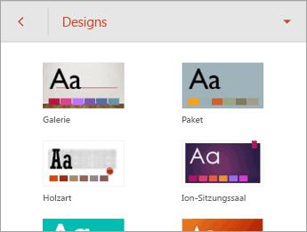 """Befehl """"Designs"""" mit Designoptionen"""
