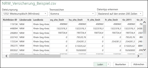Excel Power BI, verbessertes Dialogfeld für Text/CSV-Connector