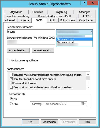 Neues UPN-Suffix für einen Benutzer hinzufügen