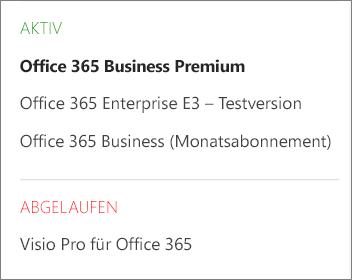 """Die Seite """"Abonnements"""" im Office 365 Admin Center mit einer Liste mehrerer Abonnements, die nach ihrem Status gruppiert sind"""
