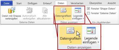 Gruppe 'Daten anzeigen' auf der Registerkarte 'Daten' im Menüband von Visio 2010