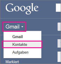 Google Mail - auf 'Contacts' klicken