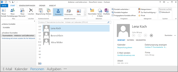 Screenshot der Kontakte der Teamwebsite in Outlook
