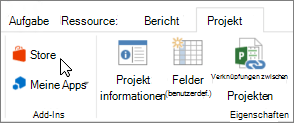 Screenshot eines Abschnitts der Registerkarte ' Projekt ' auf der Multifunktionsleiste mit einer zum Store zeigendem Mauszeiger. Wählen Sie speichern im Office Store, und suchen Sie nach Project-add-Ins.
