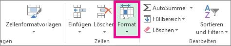 """Klicken Sie auf der Registerkarte """"Start"""" auf """"Format""""."""