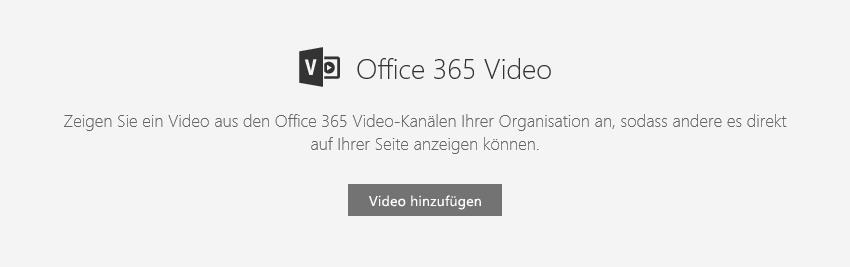 "Screenshot des Office 365-Dialogfelds ""Video hinzufügen"" in SharePoint."