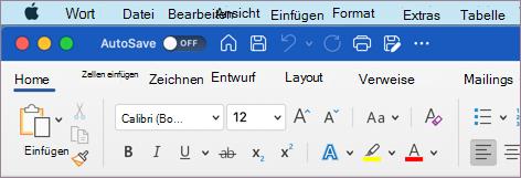 """Word für macOS mit dem Design """"Farbig"""""""