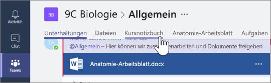 """Wählen Sie """"Kursnotizbuch"""" im Kanal """"Allgemein"""" aus."""