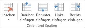 """Optionen in der Gruppe """"Zeilen und Spalten"""""""