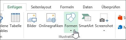 """Excel-Schaltfläche """"Formen einfügen"""""""