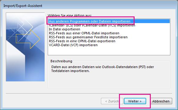 Wählen Sie dies aus, um E-Mail aus einem anderen Programm oder einer anderen Datei zu importieren.