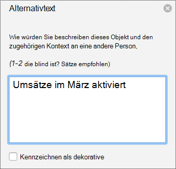 Alternativ Text Bereich für Diagramme in PPT für Mac in Office 365.