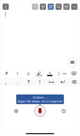 Screenshot der aktivierten Diktierfunktion auf einem iPhone.