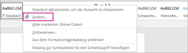 Word-Formatvorlage ändern