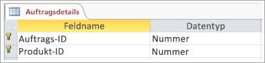 Screenshot von Primärschlüssel in Tabelle