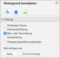 """Option """"Bildausfüllung"""" im Bereich """"Hintergrund formatieren"""""""