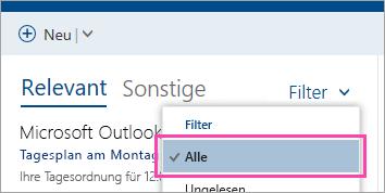 """Screenshot der Schaltfläche """"Filter"""", """"Alle"""" ausgewählt"""