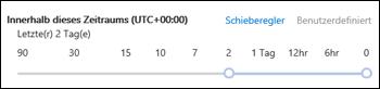 Schieberegler-Zeitspanne in einer neuen Nachrichtenablaufverfolgung im Office 365 Security & Compliance Center