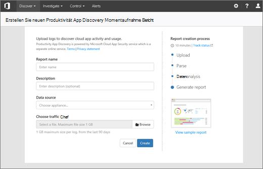 Screenshot zeigt der Berichtsseite erstellen neue Produktivität App Discovery Snapshot im Abschnitt Suche Produktivität app der Office 365-Sicherheit & Compliance Center.