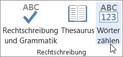 Klicken Sie auf der Registerkarte Überprüfen auf Wörter zählen