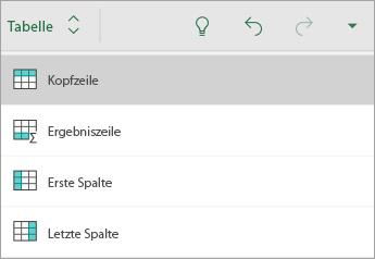 """Registerkarte """"Tabelle"""" mit ausgewählter Option """"Überschrift"""""""
