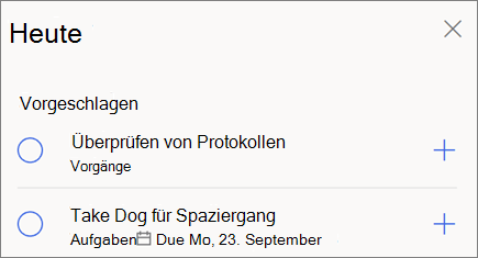 Heute Vorschläge für meinen Tag in Microsoft to-do