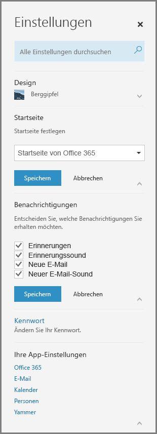 Office 365-Benachrichtigungen