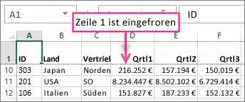 Fixierte Zeile1