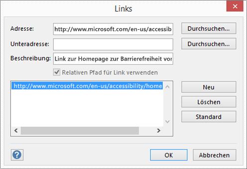 """Dialogfeld """"Links"""" zum Hinzufügen einer Beschreibung für einen Link in Visio."""