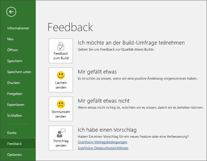 """Klicken Sie auf """"Datei"""" > """"Feedback"""", um Kommentare oder Vorschläge zu Microsoft Project abzugeben."""