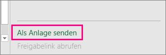 """Zeigt die Option """"Als Anlage senden"""" in Excel 2016 für Windows"""