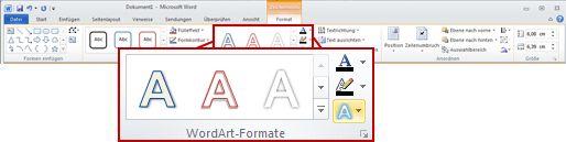 Die Registerkarte 'Format' unter 'Zeichentools'