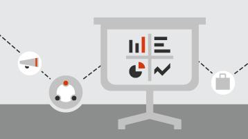 Darstellung einer Bildschirmpräsentation mit Diagrammen und Grafiken