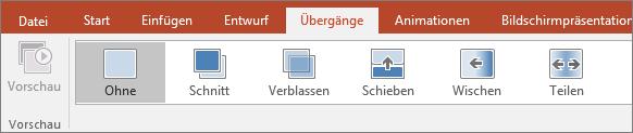 """Abbildung von """"Übergänge"""" im PowerPoint-Menü"""