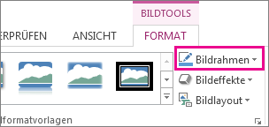 Befehl 'Bildrahmen' auf der Registerkarte 'Format' unter 'Bildtools'