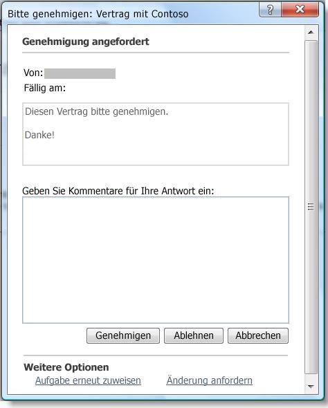 Aufgabenbearbeitungsformular für den Genehmigungsworkflow