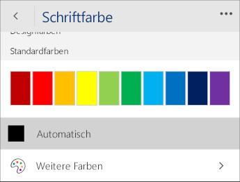 """Screenshot des Menüs """"Schriftfarbe"""" mit ausgewählter Option """"Automatisch"""""""
