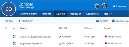 """Klicken Sie in Ihrer Office 365-Gruppe auf """"Dateien"""", um die Liste der in der Gruppe gespeicherten Dateien und Ordner anzuzeigen."""